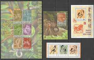 AB0956 GRENADA CARRIACOU FAUNA CHINESE LUNAR NEW YEAR HORSE SNAKE 2BL+2KB MNH