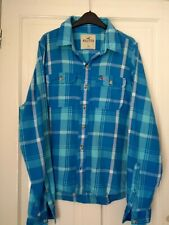 Mens Hollister Long Sleeve Shirt. size Extra Large XL. Blue Check. Soft Cotton.