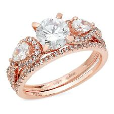 2.0 ct Round Cut Wedding Bridal Promise Engagement Ring band set 14k Rose Gold