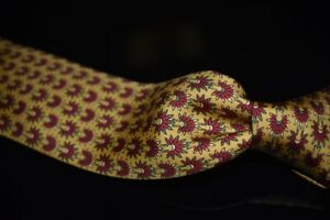 #1 MENSWEAR Hermes Made France Sunflower Gold Indian Headdress Silk Tie 7398 PA
