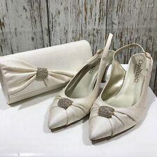 Nouveau capollini Crème Texturé Chaussures Talons Sac femme occasion taille UK 7 25265