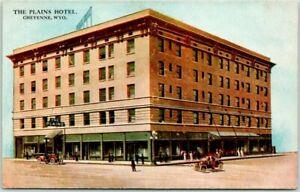 "Cheyenne, Wyoming Postcard ""THE PLAINS HOTEL"" Street View / HHT c1920s"