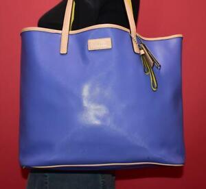 COACH Park Metro Porcelain Blue Beige Shopper Leather Shoulder Tote Purse 24341