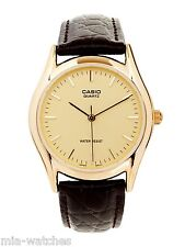 Casio MTP1094Q-9A Mens Brown Genuine Leather Casual Dress Watch Gold Case