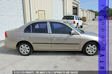 GTG 2001 - 2005 Honda Civic 4dr Sedan 6PC Chrome Stainless Steel Pillars Posts