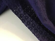 NUOVO BLU NAVY 100% COTONE Anglaise broidery Anello Foro FASHION TESSUTO DRY Lace Dress