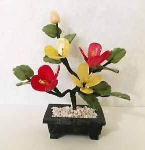 Handcrafted Jade and Glass Peach Flower Basket Artificial Bonsai Tree Plant
