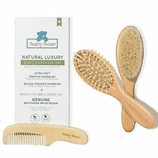 Quality Wooden Baby Hair Brush Set - Premium Brushes and Comb by Natemia - Na...