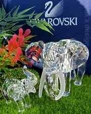 Swarovski Crystal Figurine Elephant & Baby collection on set /BOXES/COAS