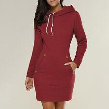 US Women Casual Hooded Hoodie Long Sleeve Sweater Pocket Bodycon Tunic Dress Top