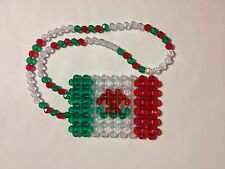 *Handmade* Mexico Mexican Beaded Flag for your car's rearview mirror, necklace