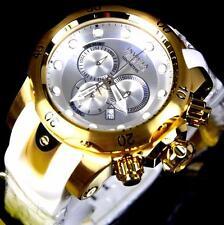 Mens Invicta Reserve Venom Gold Plated White Rubber Chronograph Swiss Watch New