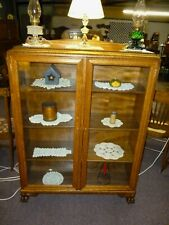 Antique Oak Bookcase double door ornate claw feet refinished 1900's brass keys