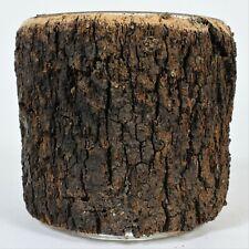Rivers Edge Tree Bark Glass Bowl Nut Candy Dish Vase Camp Lodge Trunk Wood New