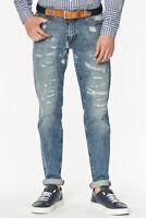 Trussardi Jeans - Jeans Regular Fit Herren Destroyed-Look Hose blau casual