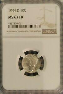 1944-D 10C Mercury Dime NGC MS 67 FB