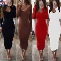 Women Ladies Long Sleeve V Neck Stretch Bodycon Ribbed Knit Pencil Midi Dress US