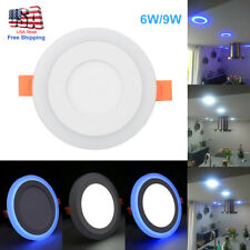 Dual Color RGB LED Ceiling Light Fans Recessed Panel Downlight White Spot Lamp
