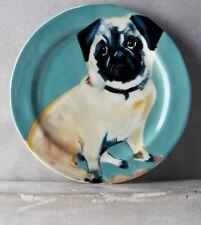 NEW ANTHROPOLOGIE DESSERT SALAD PLATE~BLUE PUG~DOG A DAY~ARTIST SALLY MUIR~RARE