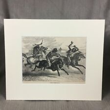 Antique Native American Indian Horse Race Warrior  Engraving Print Ca. 1890