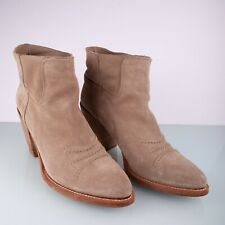 CHRISTIAN DIOR Beige Suede Western Style Ankle Women Boots Booties size 41.5