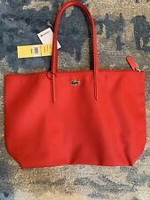 Lacoste Large Zippered PVC Leather Travel Tote Gym Shopping Bag Red