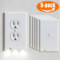 5X Wall Outlet Plug Cover Plate w/LED Night Light Auto (ON/OFF) Socket Sensor