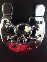 Skull Horseshoe BELT Buckle BIKER Belt SILVER MEN  HIGH QUALITY