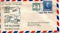 1946 FIRST AIR MAIL FLIGHT FROM SAN SALVADOR, EL SAL TO HOUSTON ON OCT 16, 1946