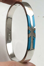 Solid Silver 925 Turquoise Opening Bangle Mexico