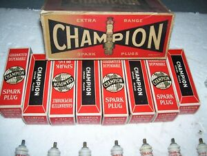 RARE 8 NOS CHAMPION SPARK PLUGS 6 COM 62 18MM 1IN HEX -0RIG  BOXES  hit miss