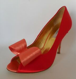 TED BAKER size UK 6 heels shoes peep toe bow red gold
