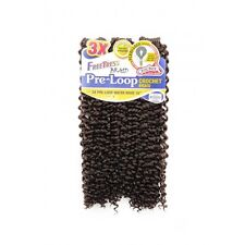 """FreeTress 3X PRE-LOOP WATER WAVE 16"""" Crochet Synthetic Braiding Hair #4 Med Brwn"""