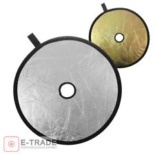 30cm foldable reflector for lens ROUND REFLECT 2-in-1 /  silver - gold + bag
