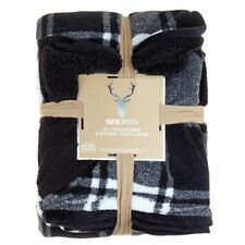 Black White Buffalo Plaid Blanket Full Queen Size Winter Nordic New Throw Sherpa