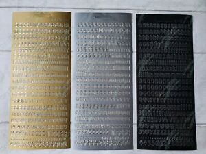 JEJE peel off sticker - lower case letters gold / silver / black FREE P&P
