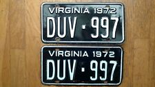 1972 Virginia License Plates Tags Pair VA