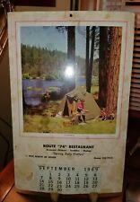 RARE VINTAGE DOVER, PA RT. 74 DINER RESTAURANT 1969 CALENDAR CAMPING FISHING