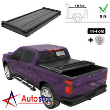 5ft Tri-Fold Soft Tonneau Cover For 2005-2019 Nissan Frontier Short Bed On Top