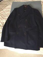 SISLEY Navy Double-Breasted Wool Pea Coat Jacket UK Size 46/Small- 60% Wool