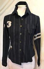 Rinascimento Damen Vintage Bluse Oberteil Franzen Fetzen Gr. S 36 Schwarz