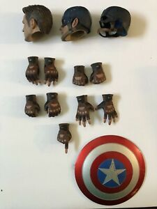 """2 Winter Soldier Chris Evan Captain America Head Sculpt and 1/6 Hands For 12"""""""