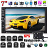 """7"""" HD Double 2 DIN Car Stereo Touch MP5 Player Bluetooth Radio GPS + Camera AUX"""