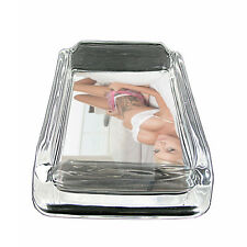 "Tattoo Pin Up Girls D29 Glass Square Ashtray 4"" x 3"" Smoking Cigarettes"