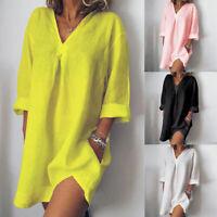 Damen Minikleid Strand Tunika V-Neck Hemdkleid Baumwolle Leinen Longshirt Mode