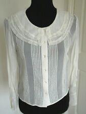 TOPSHOP CREAM  SHEER LACE TRIMMED VINTAGE STYLE BLOUSE Edwardian 30s Peaky UK 8