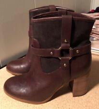 NEW Ralph Lauren Dylan Leather Cognac Brown stack heel western boots size 7