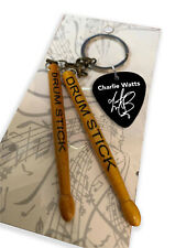 More details for charlie watts rolling stones drumsticks & guitar pick keyring