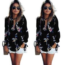 UK Womens Summer Long Sleeve Blouse Tops Chiffon Floral Ladies Casual T-shirt