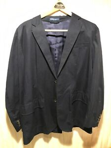 Men's Polo by Ralph Lauren 40R navy blazer jacket 100 cotton